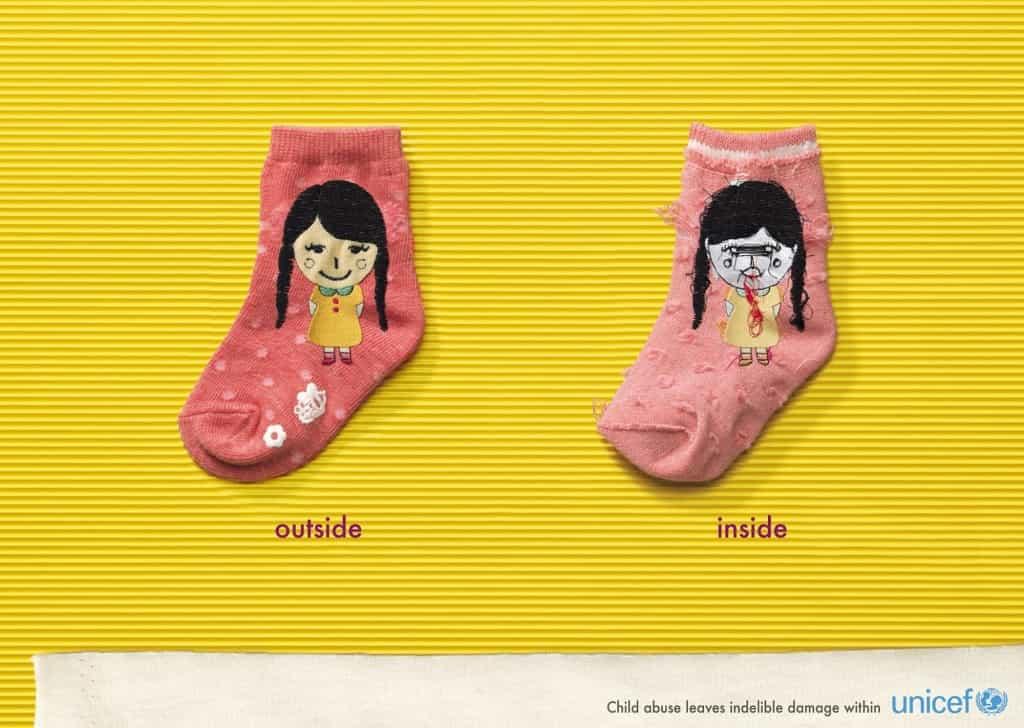 Pub Unicef : chaussette