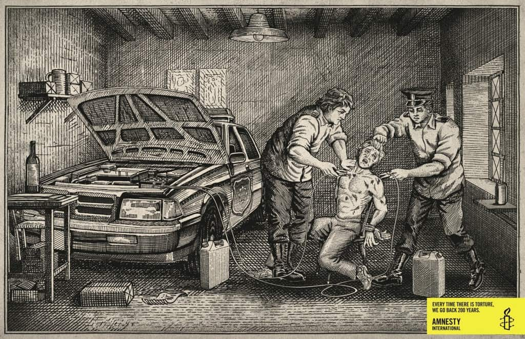 Pub Amnesty International : gravure